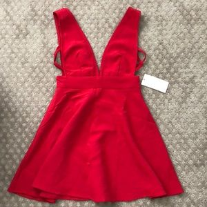 TOBI deep v, red mini dress